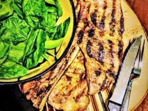 Keto Lifestyle Meal Example of Meat and Spinach